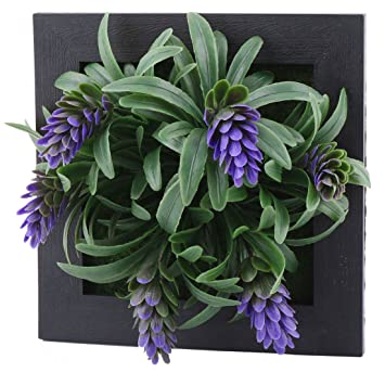 Sourcingmap® Carré Plastique Artificielle Plante Succulente Suspension  Murale Cadre Décoration Florale