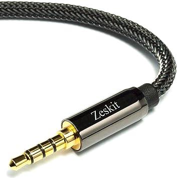 Zeskit - Premium Cable de audio estéreo, 3,5 mm Jack, Nylon Trenzado