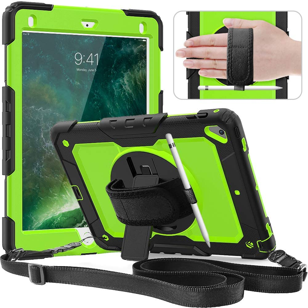 Timecity Case Compatible with iPad 6th/5th Generation,9.7 Inch 2018/2017 Case with Rotating Stand/Strap Full-Body Hybrid Armor Protective Case Replacement for iPad 5th/6th Gen/Air 2/ Pro 9.7 Green