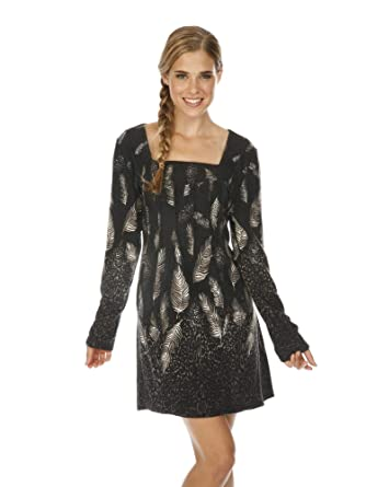 b35783af3b6 Cathaya Women s Gray Feather Cheetah Pattern Square Neck Sweater Dress S