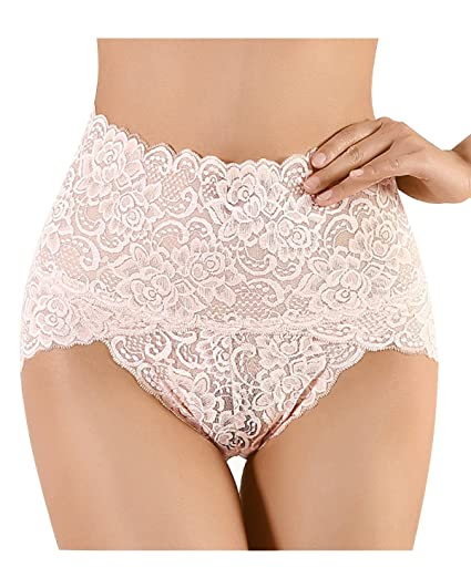 bb1babcc79 KISSLACE Women Sexy Lace Brief High Rise Basic Stretchy Sheer Knickers  Underpants Underwear Nude UK 8