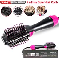 Hot Air Brush, One Step Hair Dryer Styler Volumizer 2-in-1 Salon Negative Ion Hair Straightener Anti-Scald Curly Hair Comb Straightener