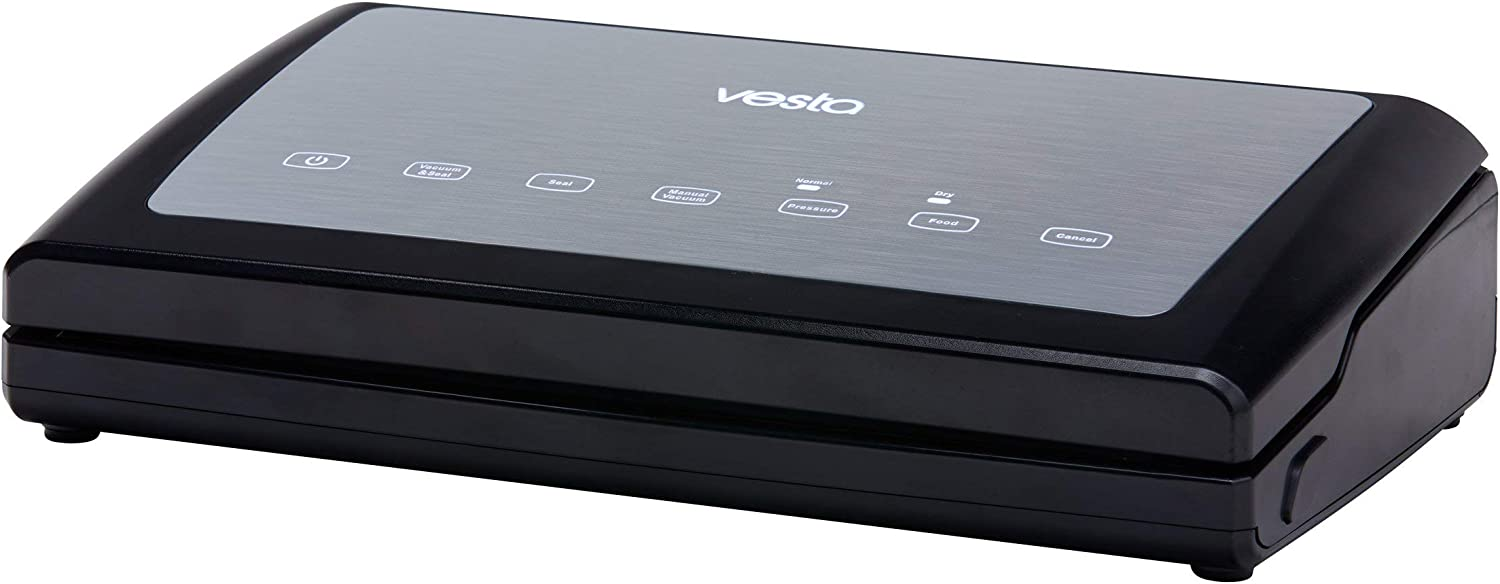 Vacuum Sealer by Vesta Precision - Vac 'n Seal Elite | Extends Food Freshness | Perfect for Sous Vide Cooking | Dry and Moist Food Mode | Built-In Vacuum Roll Storage and Cutter