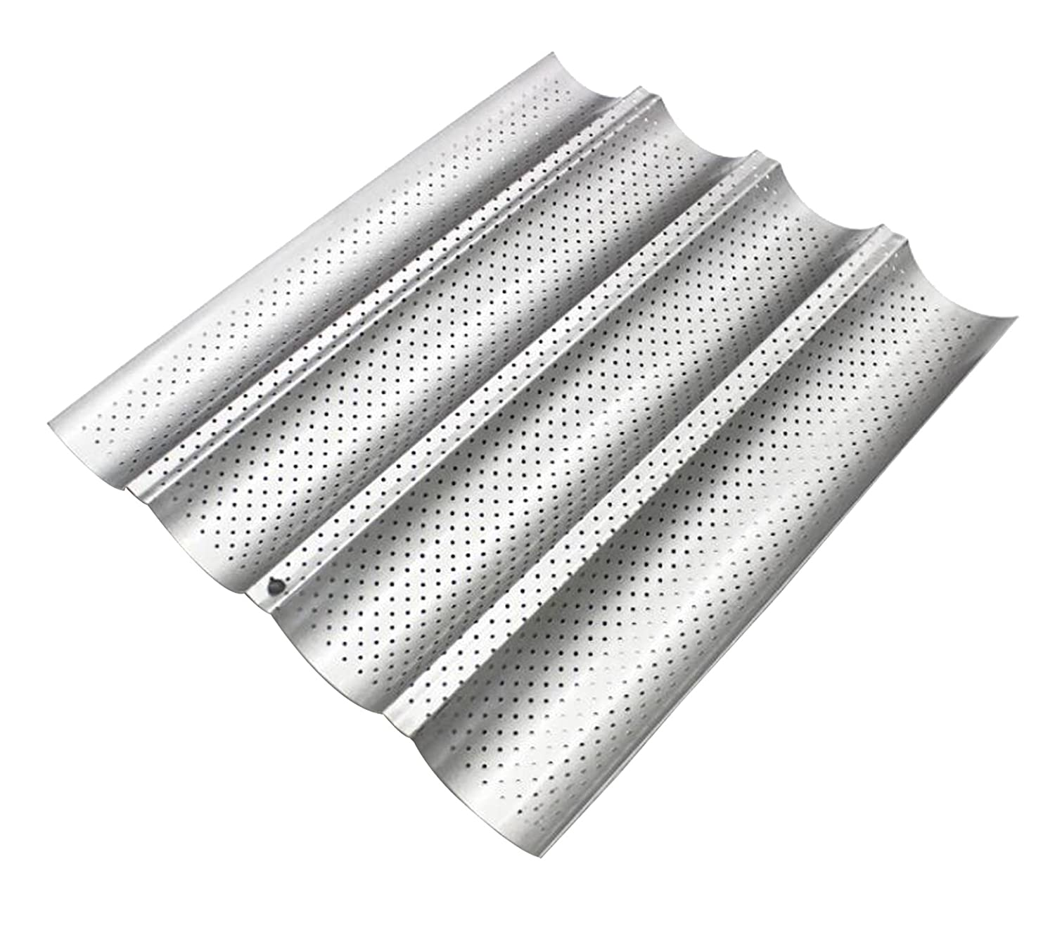 Four Groove French Bread Pan, KOOTIPS Non-stick Perforated Baguette Pan French Italian Bread Pan Wave Loaf Bake Mold Board Subway Mold Tins Basket Tray Cloche Molds Pans Sheet Baker Baking (Silver) Kootips-1-622