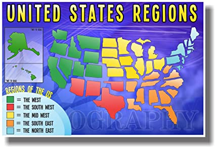 Map Of The United States By Regions.Amazon Com United States Regions New American Geography Poster