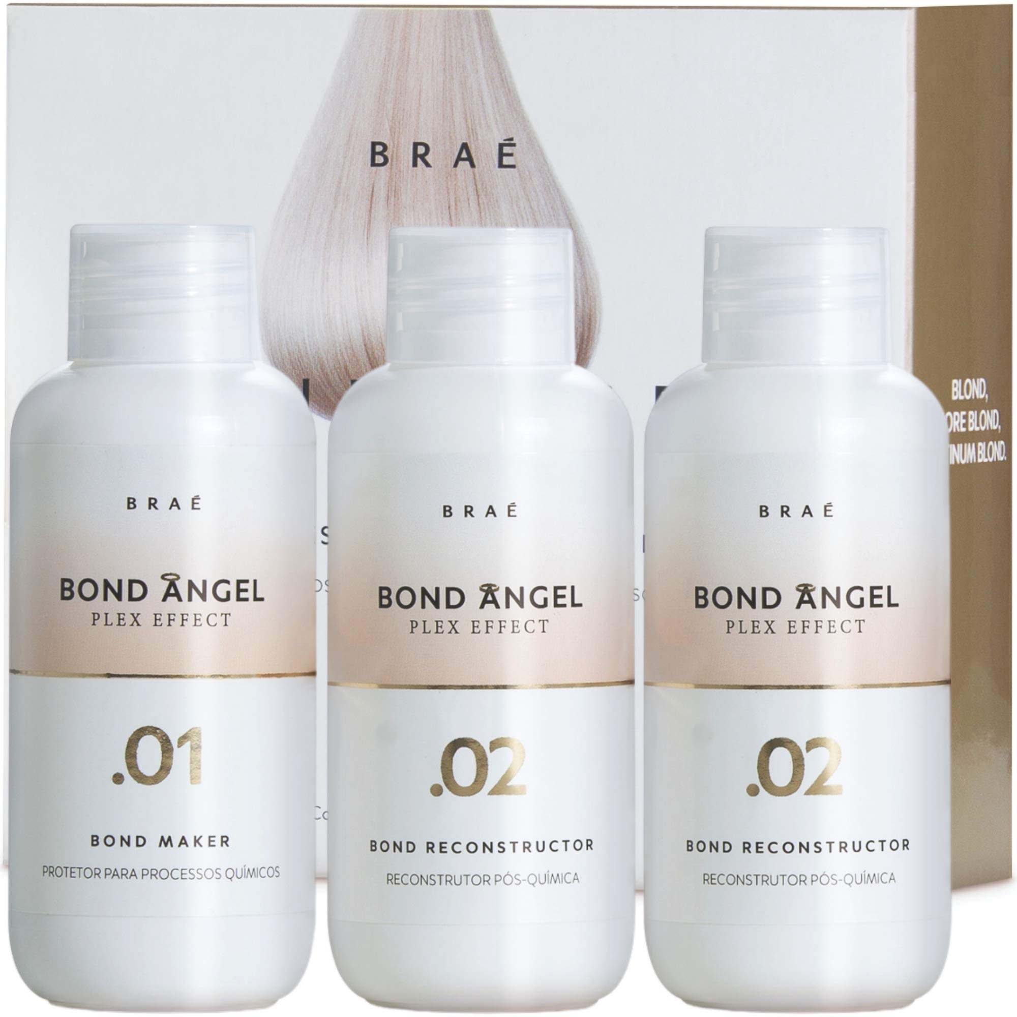 Bond Angel Plex Effect, Treatment Kit for Bleaching and Coloring protection for All Hair Types - 100ml Step1,2,2
