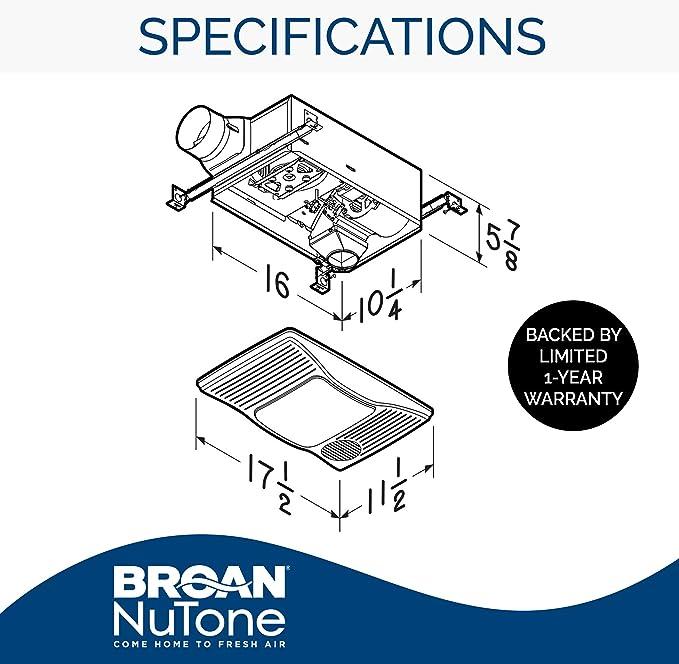 Broan-NuTone 100HL Directionally-Adjustable Bathroom Heater, Fan, and Light  Combo, 2.0 Sones, 100 CFM, White: Home Improvement - Amazon.comAmazon.com