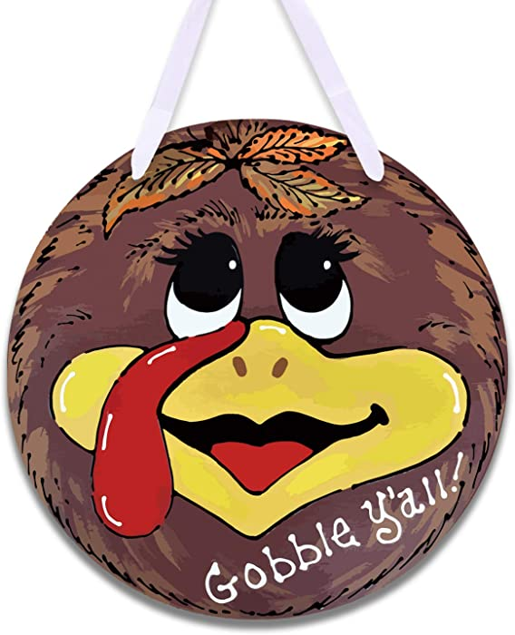 GEGEWOO Thanksgiving Wooden Door Decor Thanksgiving Wreath for Front Door Cute Turkey Door Hanger Thanksgiving Door Hanger Gobble You All Sign Thanksgiving Party Decorations