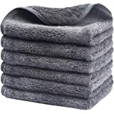 Sinland Microfiber Facial Cleaning Cloths Plush Makeup Removing Towels Fast Drying Washcloth with Silky Satin Edging (greyx6)