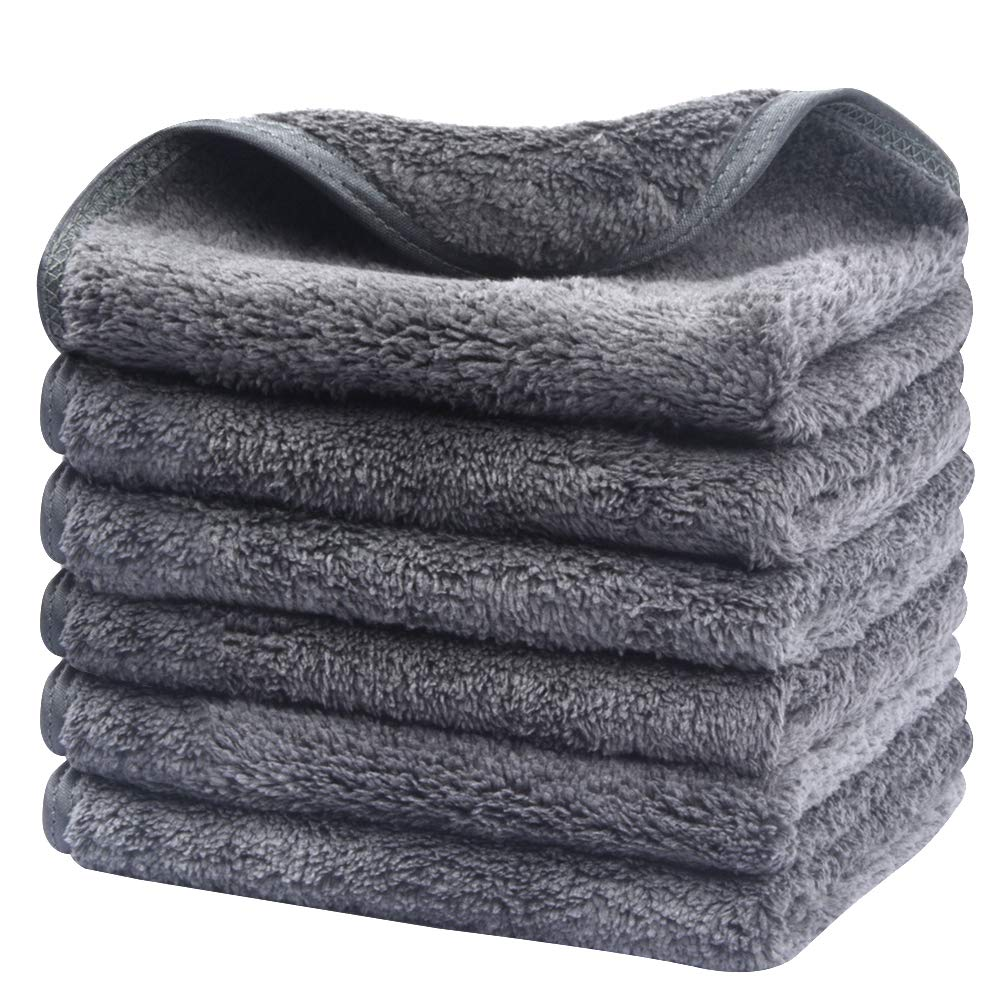 Sinland Microfiber Face Cloths For Bath Reusable Makeup Remover Cloth Ultra Soft and Absorbent Washcloths For Baby 12Inch x 12Inch Grey 6 Pack