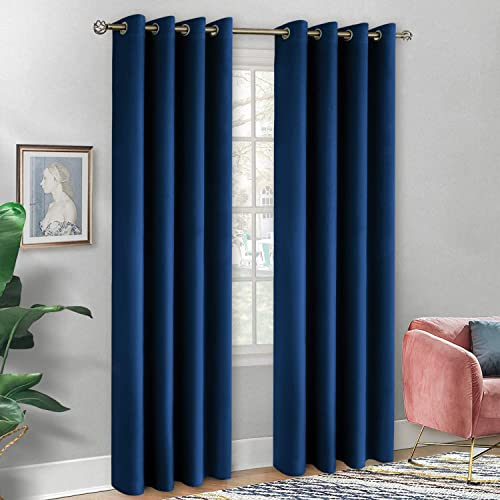 BGment Soft Velvet Curtains for Bedroom, Grommet Energy Efficiency Thermal Insulated Room Darkening Curtains for Living Room, Set of 2 Panels Each 52 x 108 Inch, Classic Blue