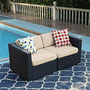 PHI VILLA Patio Furniture Sofa Outdoor Loveseat, 2 Piece Patio Couch with Washable Cushions, Outdoor Furniture Sofa Sets Beige