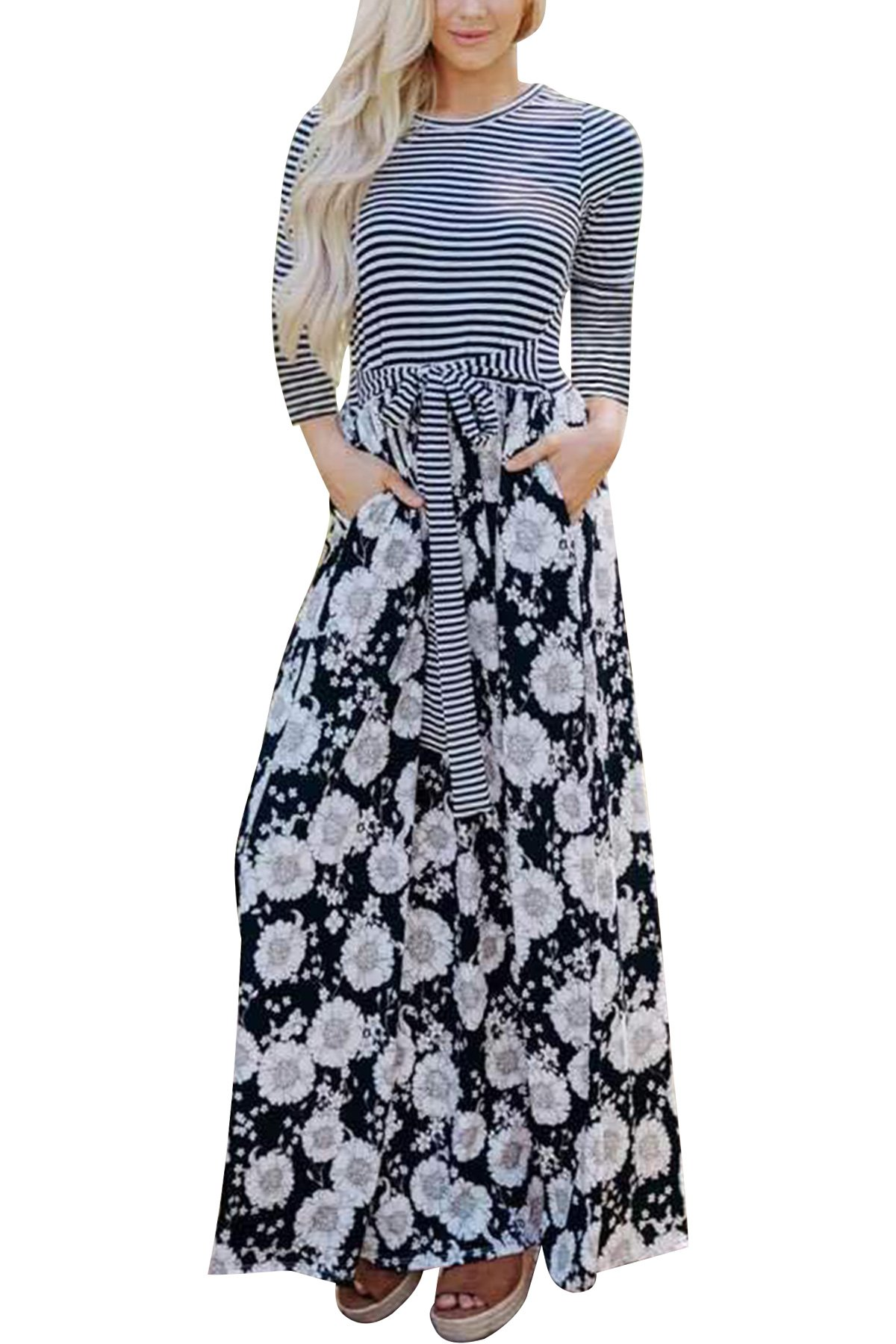 JYUAN Women's Casual Striped Floral Print Maxi Dress 3/4 Sleeve Tie Waist Long Maxi Dress Pockets