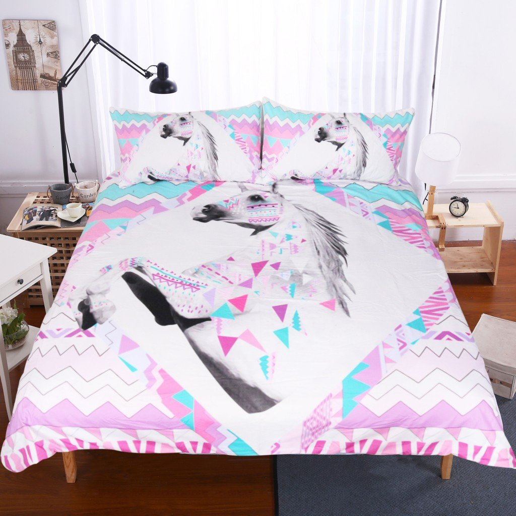 S Hotel Collection Luxury Soft Microfiber 3D Printed Unicorn Duvet Cover Set with Zipper Closure -Silky Soft, Wrinkle & Fade Resistant -3pc