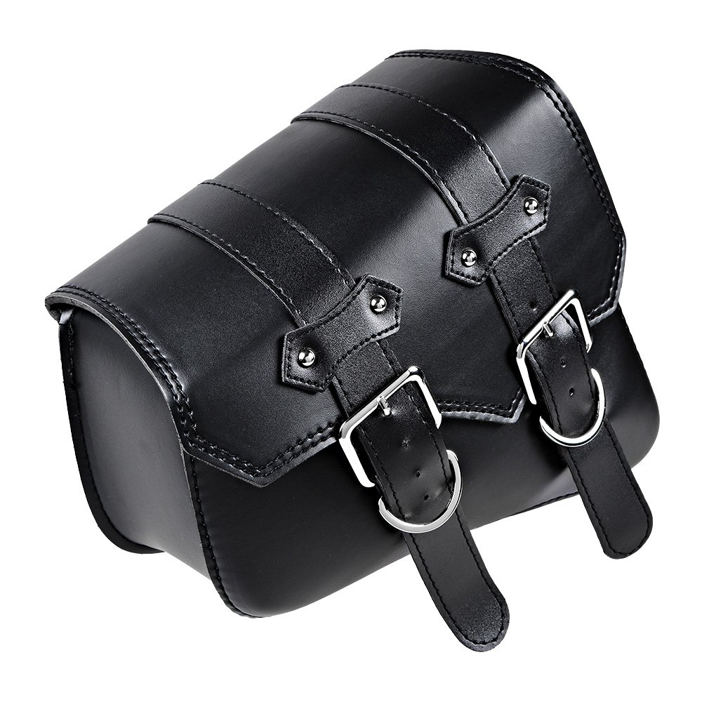 Astra Depot Left and Right Black PU Leather Solo Swing Arm Saddlebag and Pannier Storage Compatible with Harley Sportster XL883 XL1200