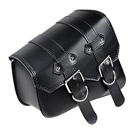 da3821a73d93 Anzio for Harley Sportster XL883 XL1200 Black PU Leather Left Swing Arm  Saddle Bag (Left)