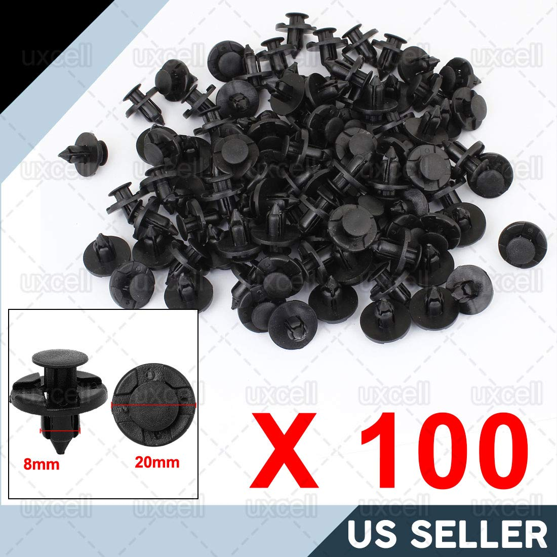 uxcell 100x 8mm Push-Type Retainer Clips Fit for Nissan Bumpers Splashguards Wheelarch Plastic Rivet