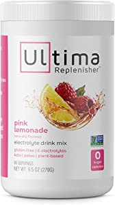 Ultima Replenisher Hydrating Electrolyte Powder, Pink Lemonade, 90 Serving Canister - Sugar Free, 0 Calories, 0 Carbs - Gluten-Free, Keto, Non-GMO with Magnesium, Potassium, Calcium