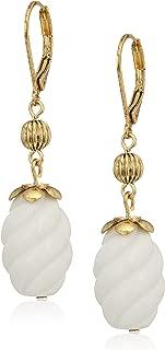 product image for 1928 Jewelry 14k Gold Dipped Semi Precious Genuine Gemstone White Quartz Drop Earrings