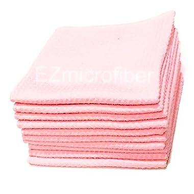 "EZmicrofiber 12x12"" MICROFIBER KITCHEN hand towel and dish cloth waffle pattern - set of 10 - PINK"