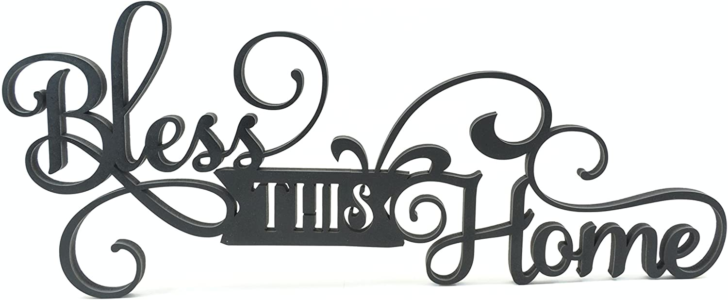 Bless This Home 3D Word Art Wood Cutout 8.5x20