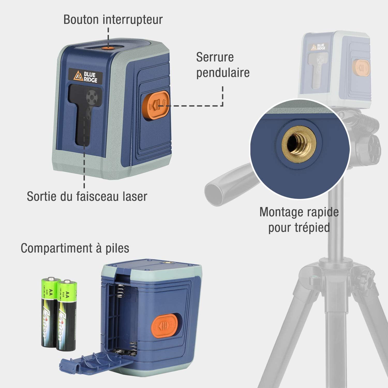10M Trois Alternant Lignes /à Niveaux Crois/és Laser Rouge avec Supoort Laser Rotatif 360/° BLUE RIDGE Niveau Laser Autonivelant BR8900