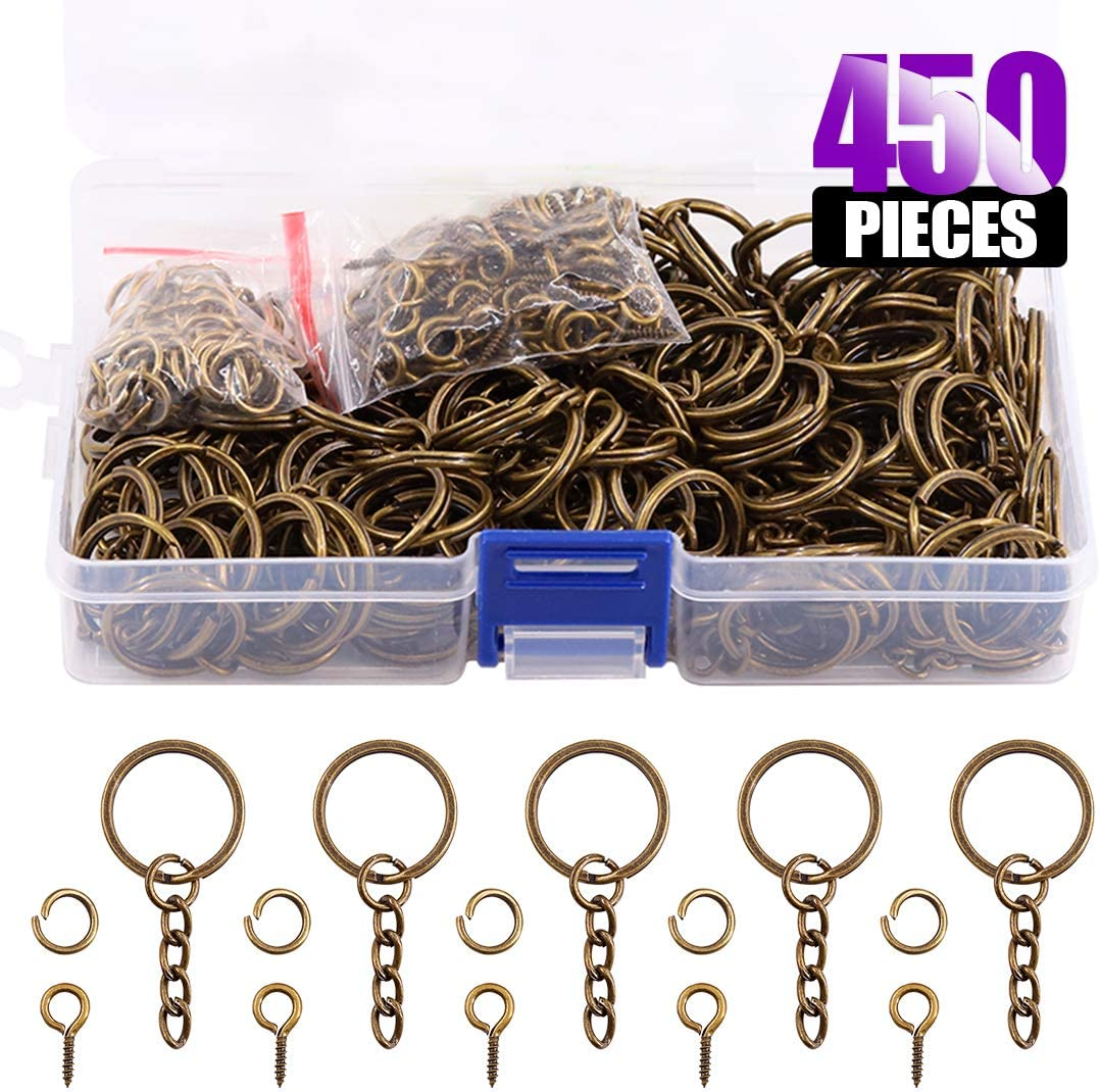 Including 150Pcs Split Keychain Rings with Chain and 150Pcs Jump Ring with 150Pcs Screw Eye Pins Bulk for Jewelry Findings Making Swpeet 450Pcs 4//5 Inch 20mm Black Flat Key Chain Rings Kit