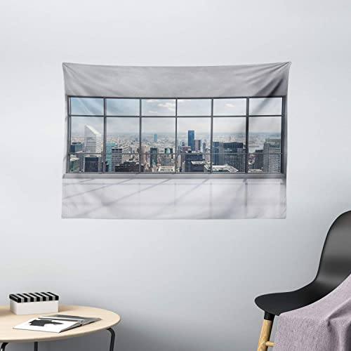 Ambesonne City Tapestry, Clean Office with Big Window Downtown Skyscraper Buildings Domestic Cityscape Art, Wide Wall Hanging for Bedroom Living Room Dorm, 60 X 40 , Grey Blue
