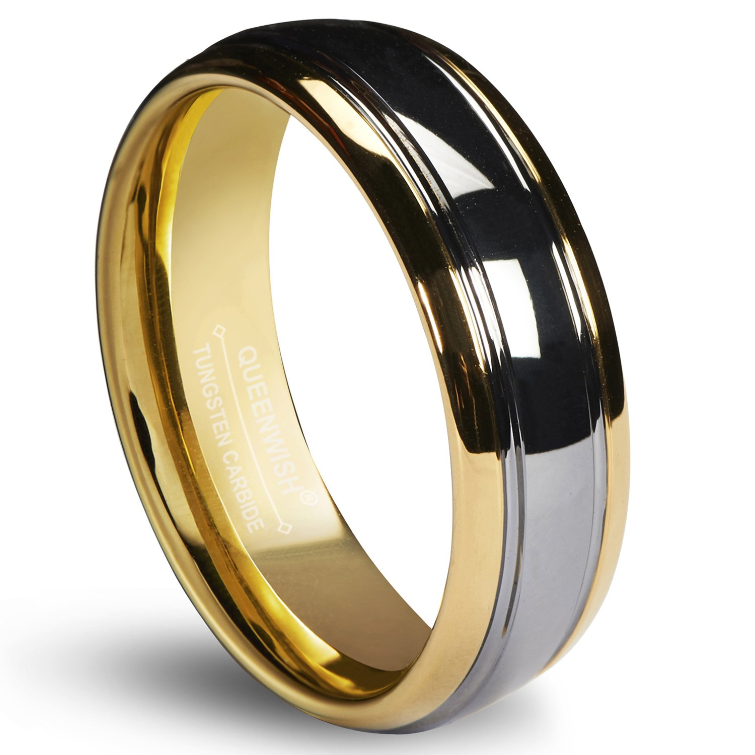 Queenwish 6mm Tungsten Carbide Wedding Band Gold Silver Dome Promise Rings for Couples Size 9.5