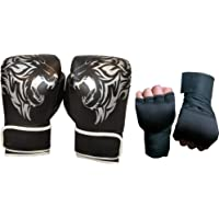 Byson Reign Special Hit Hard and Hit Often Black Boxing Gloves with Hand Wrap (12oz) Training Gloves, Muay Thai Style Punching Bag Mitts, Fight Gloves Men & Women