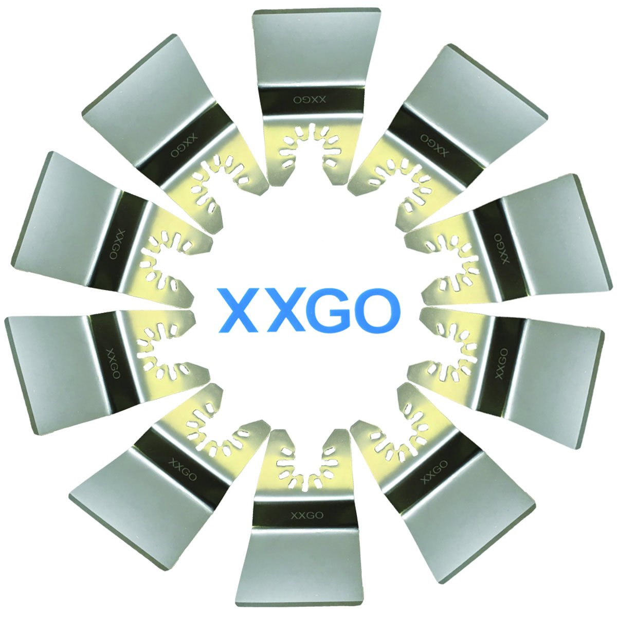 XXGO 10 Pcs Universal 2 Inch Stainless Steel Oscillating Multi Tool Rigid Scraper Blades For Paint, Grout