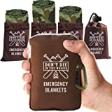 World's Toughest Emergency Blankets | 4 Pack Extra Large Thermal Mylar Foil Space Blanket Heat Sheets For Hiking…