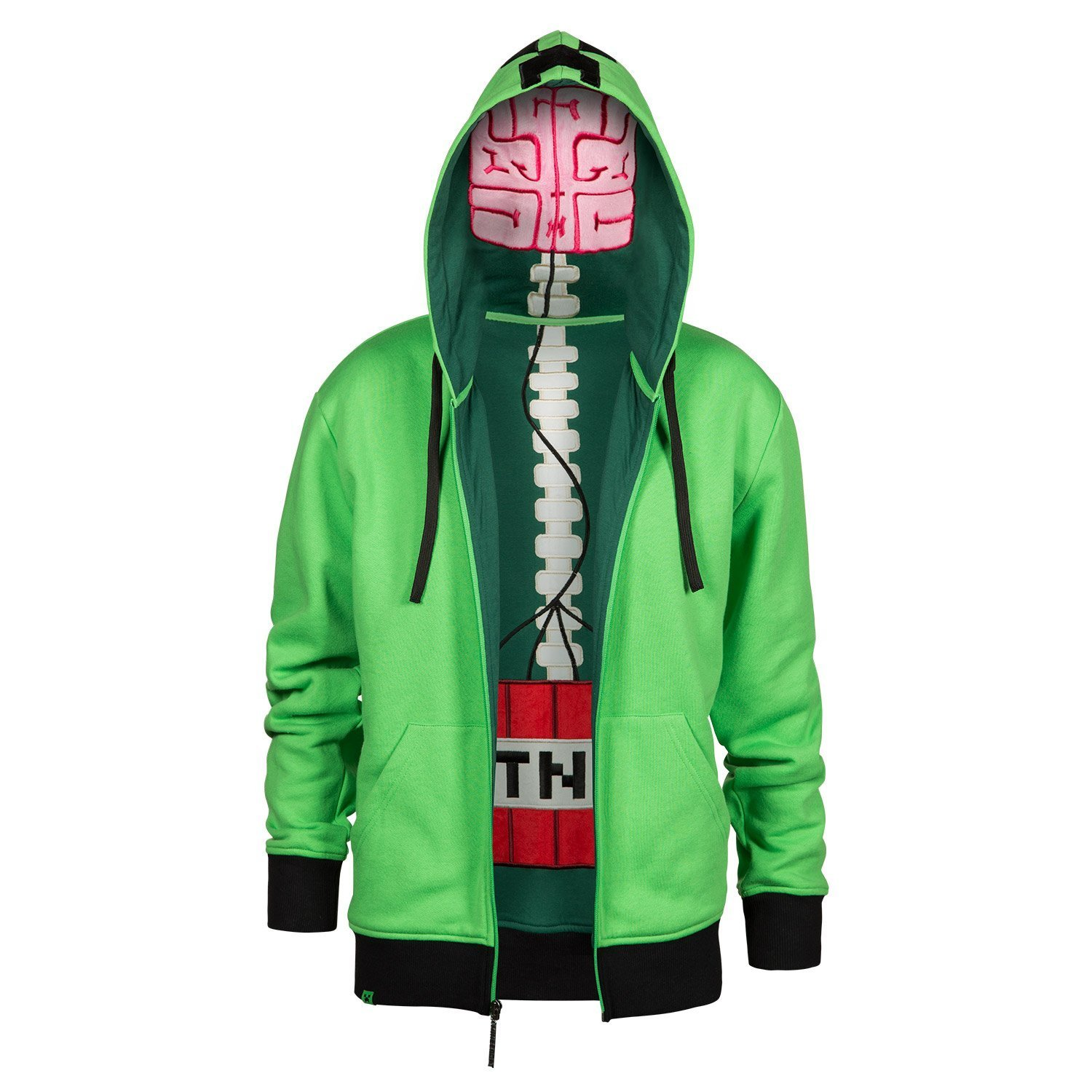 JINX Minecraft Men's Creeper Anatomy Premium Zip-up Hoodie MJMC-05037ZP-GN