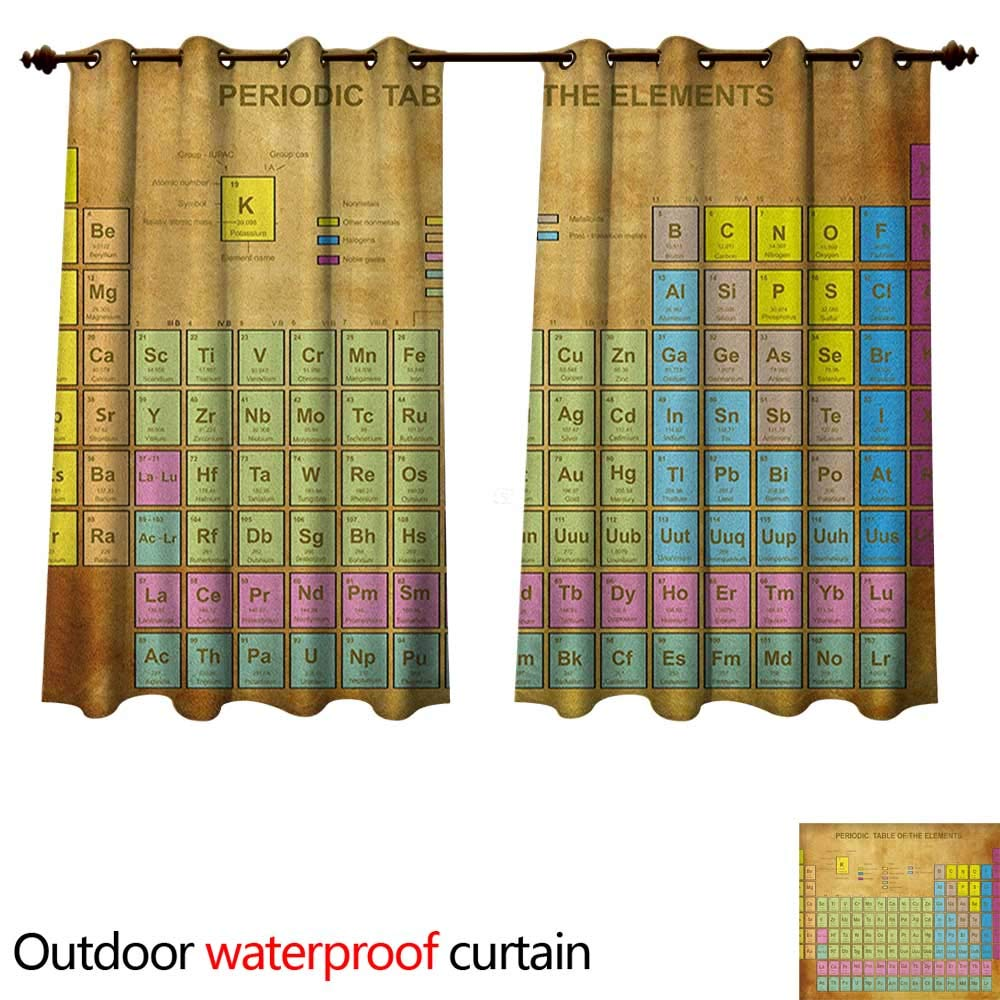 Anshesix Periodic Table Home Patio Outdoor Curtain Chemistry Elements for Classroom Geek Science Lovers Vintage Style Print W55 x L72(140cm x 183cm)