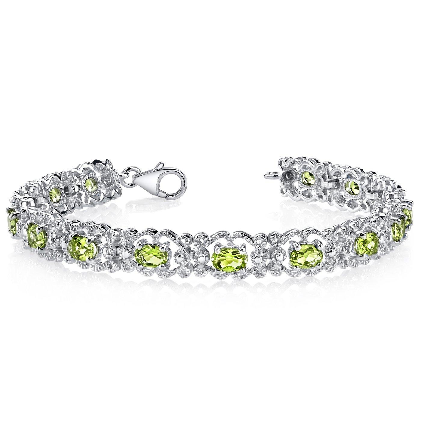 Peridot Bracelet Sterling Silver 7.00 Carats Vintage Design
