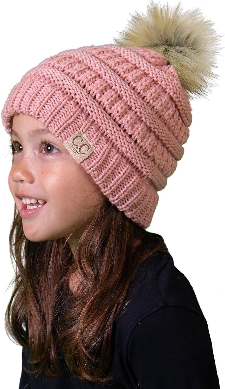 Kids Pom Beanie - Indi Pink (Faux Fur pom): Clothing