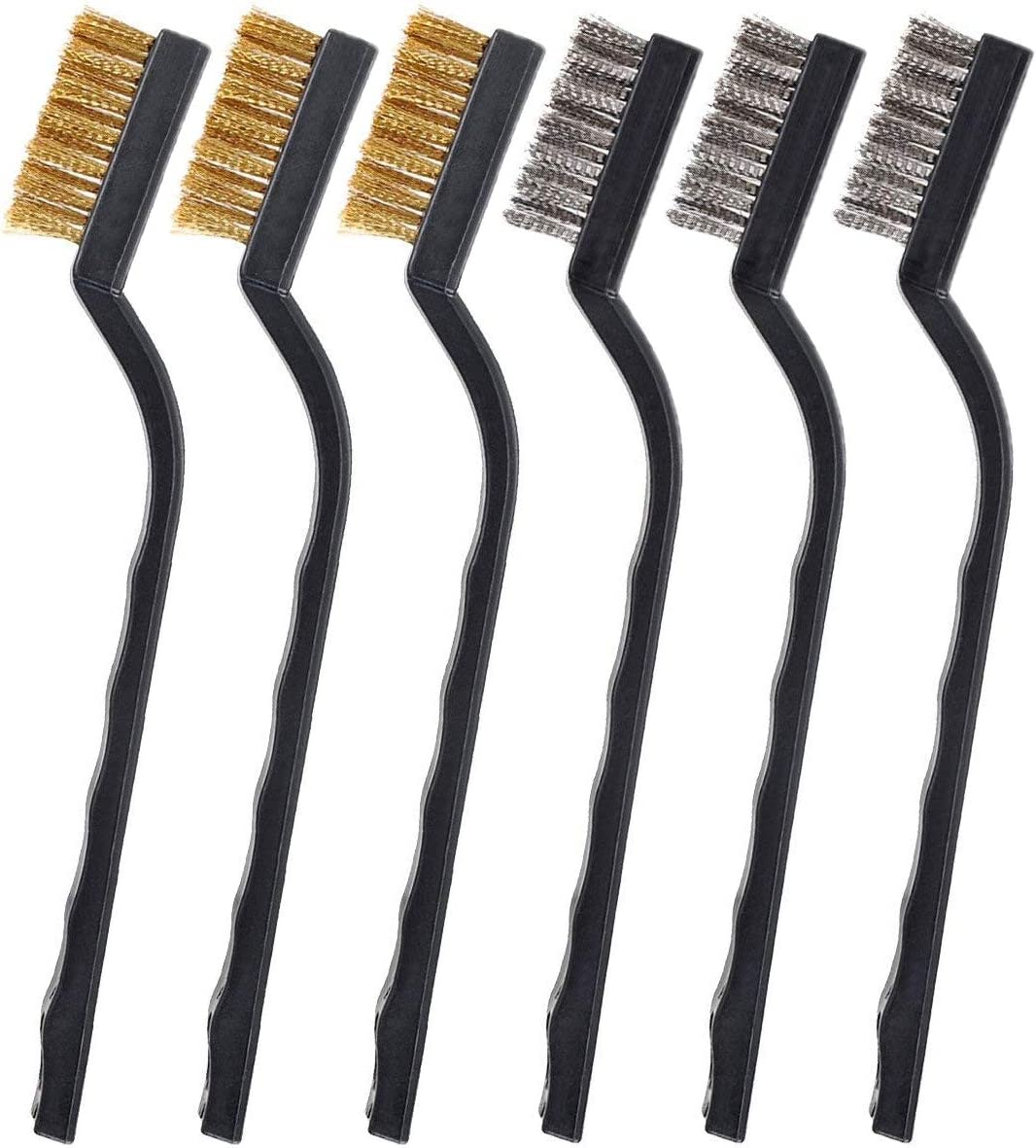 GWHOLE 6 Pcs Wire Brush Set for Cleaning Welding Slag and Rust Stainless Steel Brass and Nylon