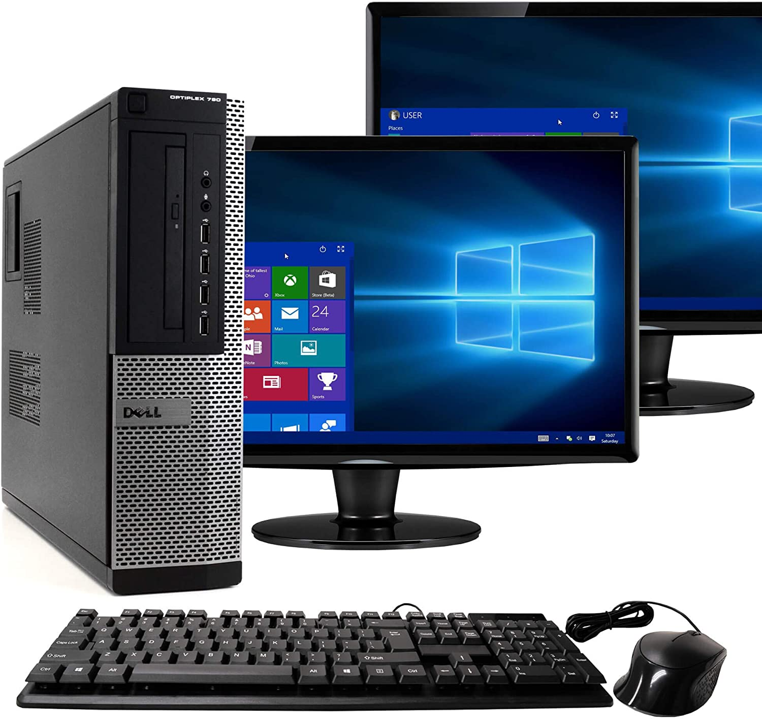 Dell Optiplex 790 Core i5 3.1GHz, 1TB Hard Drive, 16GB Memory, Windows 10 x64, Dual 19 Monitors (Renewed)