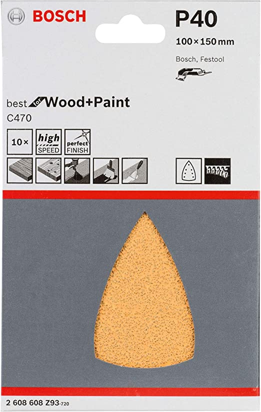 Bosch Professional Schleifblatt f/ür Schwingschleifer Holz und Farbe Expert for Wood and Paint 10 St/ück, K/örnung 100, C430