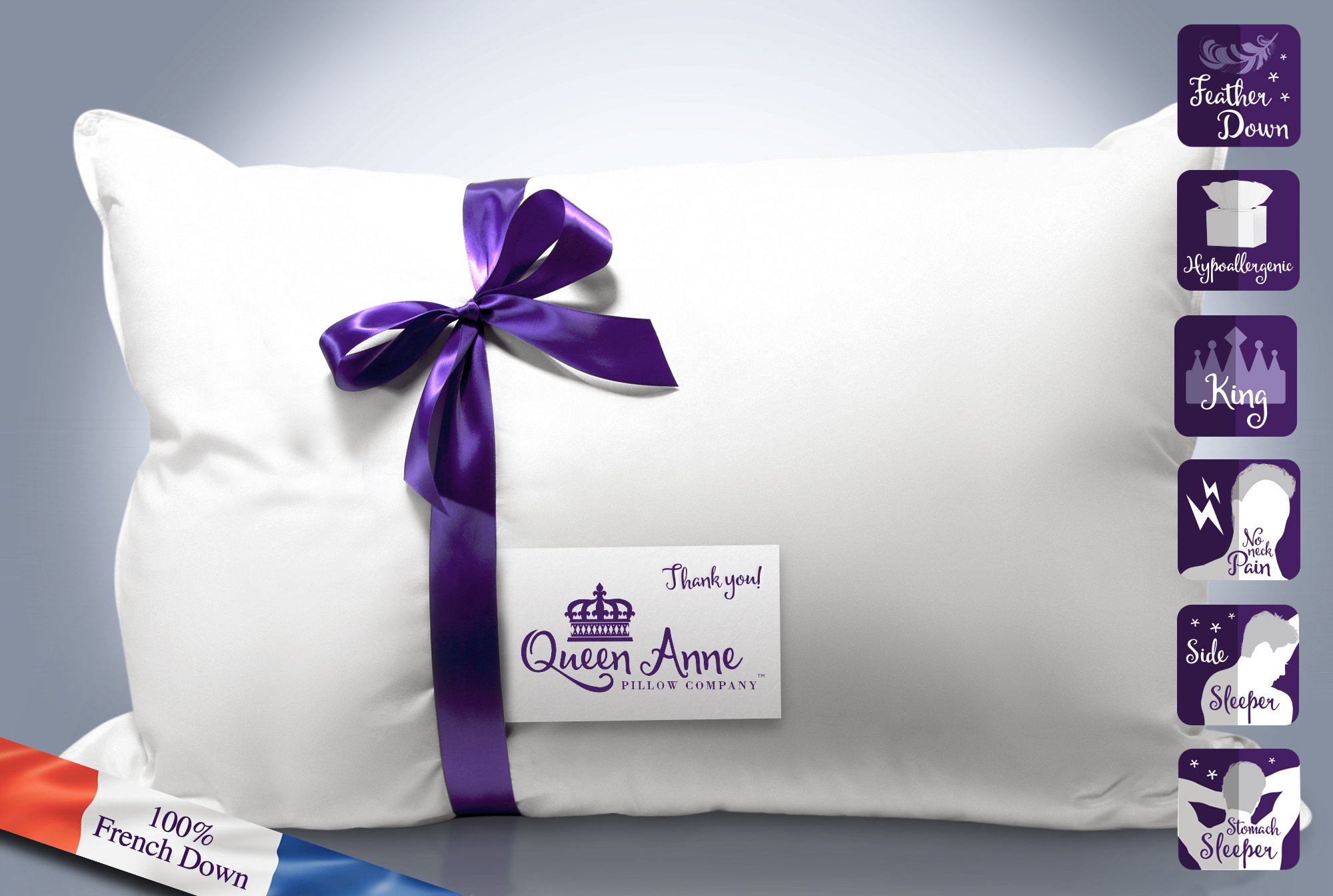 The Duchess - Queen Anne Pillow's Luxury French Feather & Goose Down Blend – Hotel Pillow Collection – USA Made (King Size, Firm Fill)