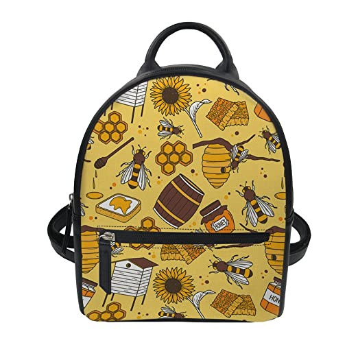 Mini Backpack for Girls Cute Bee Stylish Lightweight Small Shoulder Bag e9d8c57231f67