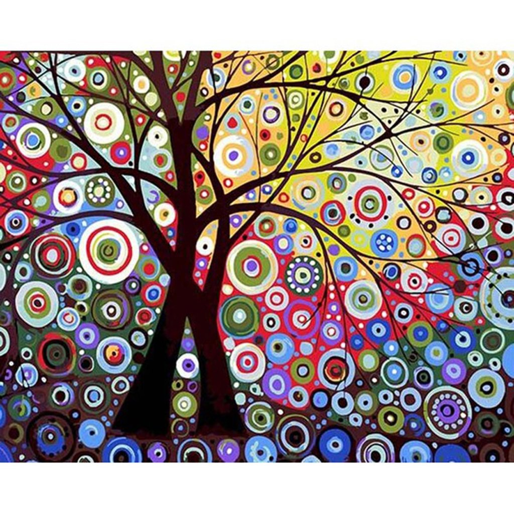 FXCO Abstract Sun Tree No-Framed Digital Oil Painting DIY Paint by Numbers On Canvas