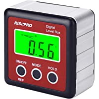 RISEPRO Digital Level Box Angle Gauge Protractor Inclinometer Bevel Box with Magnet Base & LCD Backlight, Calculating…