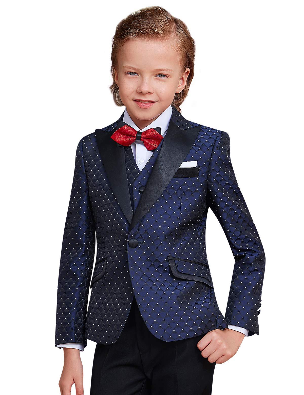 ELPA ELPA Boys Fasion Suits Children's Wave Point Slim Fit Suit 6 Pieces for Festival Show Performance