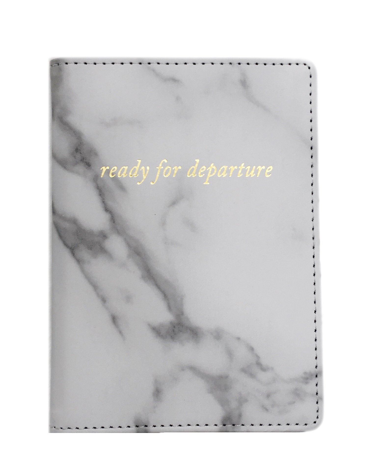 HaBee - Marble Passport Holder Travel Cover Case with Gold Lettering (Ready for Departure)