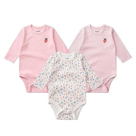Pack de 3 Body Recién Nacido Niña Manga Larga Pelele Mono Conjunto de ropa, Rosa