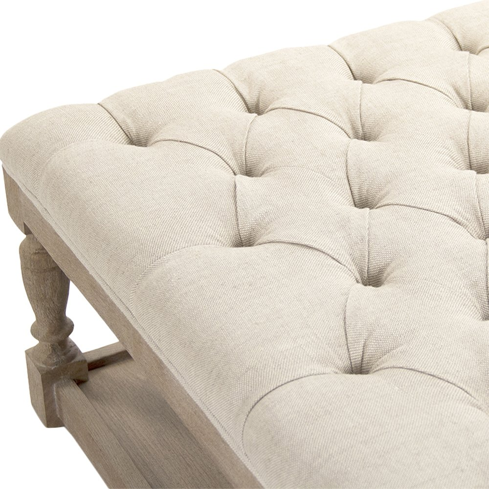 Square Tufted Linen Limed Grey Elm Coffee Table Ottoman by Kathy Kuo Home (Image #4)