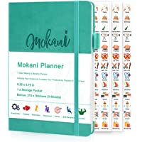 """Mokani Planner - Weekly & Monthly Life Planner with Leather Hardcover A5-8.27"""" x 5.83"""" - Time Management & Hit Your Goal…"""