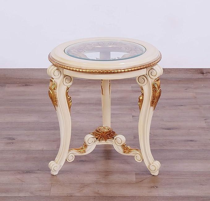 Amazon Com European Furniture Veronica Iii Round Luxury End Table Kitchen Dining