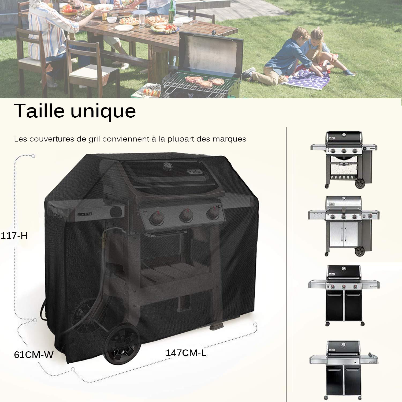 145 x 61 x 117 cm UKEER Housse Barbecue,Housse Barbecue Gaz Bache Barbecue de Protection BBQ Couverture Anti-UV Imperm/éable pour Weber etc avec Une Brosse de Barbecue en Acier Inoxydable